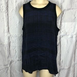 NWT Michael Stars Park Ave Silk Blue Black Tank